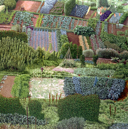David Inshaw 'Allotments', oil on canvas, 1987/8