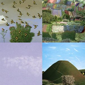 Image show David Inshaw paintings 'Goldfinches', 'Allotments', and 'Portrait of Silbury Hill'