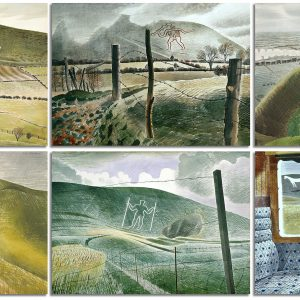 Image of Eric Ravilious paintings 'Chalk Figure Near Weymouth', 'Cerne Abbas Giant', 'Westbury Horse', 'Vale of the White Horse', 'Wilmington Giant', and 'Train Landscape', all watercolour, all 1939