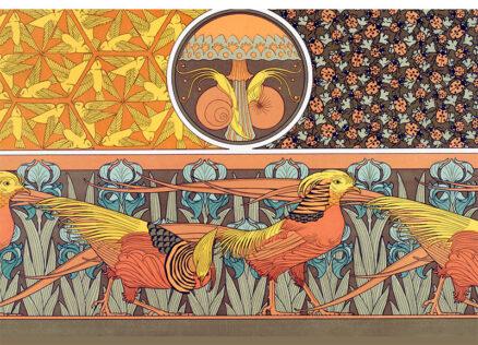 Art Nouveau Postcards - Pheasants and Snails by Verneuil