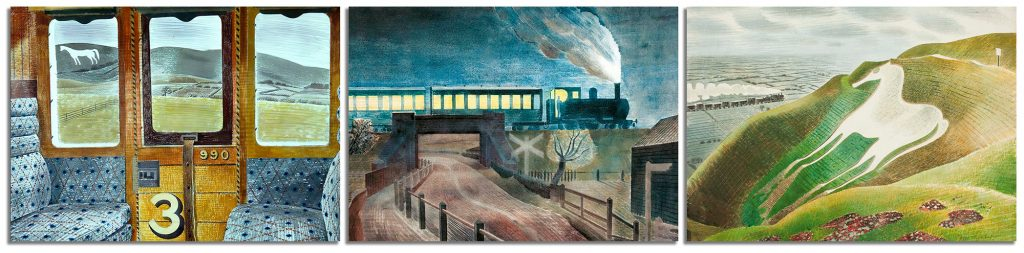 Panel showing Eric Ravilious paintings 'Train Landscape', 'Train going over a Bridge at Night' and 'Westbury Horse'
