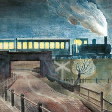 Eric Ravilious, 'Train going over a Bridge at Night', watercolour, 1935