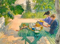 'Holiday Reading', Carl Larsson, watercolour and gouache over pencil on paper, 1916.