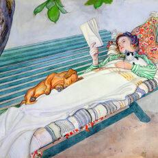 'Woman Lying on a Bench', Carl Larsson, watercolour on paper, 1913