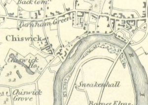 Map showing the Chiswick Eyot (centre)