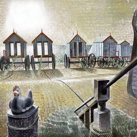 'Aldeburgh Bathing Machines', Eric Ravilious, pencil and watercolour, 1938