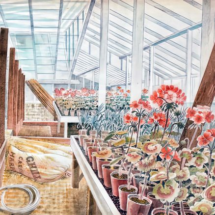 'Geraniums and Carnations' Eric Ravilious, watercolour, 1938.