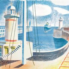 'Newhaven Harbour' Eric Ravilious, colour lithograph, 1936