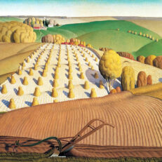 Grant Wood 'Fall Ploughing', oil on canvas, 1931